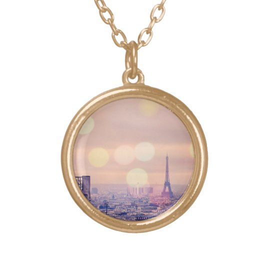 Dreamy Vintage Eiffel Tower Bokeh Necklace