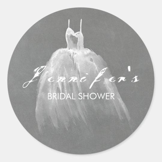 Dreamy Wedding Dress Bridal Shower Classic Round Sticker