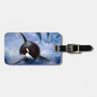 Dreamy Whale and dolphins Luggage Tag