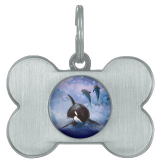 Dreamy Whale and dolphins Pet Name Tag