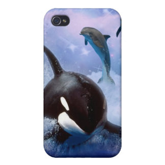 Dreamy Whale and dolphins play iPhone 4 Cover