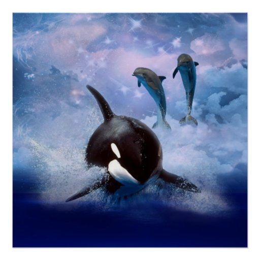 Dreamy Whale and dolphins Poster