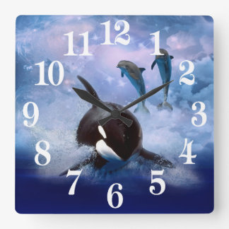 Dreamy whale and dolphins square wall clock