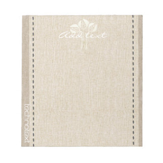 Dreamy White Tulips Linen Look Add Text Gardener Notepad