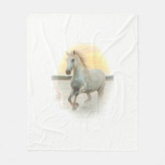 Dreamy wild white horse in the water at sunset fleece blanket