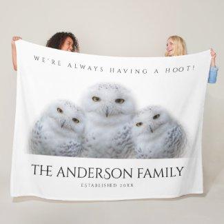 Dreamy Wisdom of Snowy Owls Family Fleece Blanket