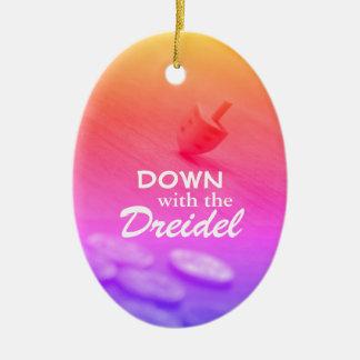 Dreidel Colorful Gradient with Funny Hanukkah Text Ceramic Oval Decoration