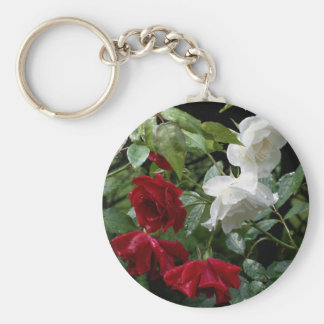 Drenched Roses Flower Photography Keychain