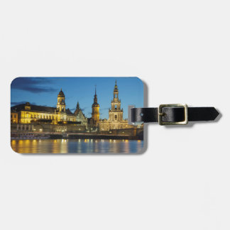 Dresden Elbe Night view Luggage Tag