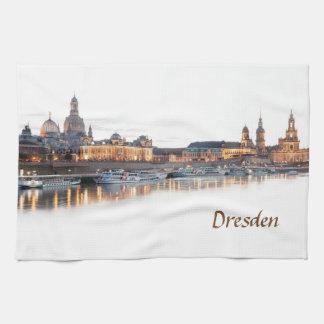 Dresden Elbe Night view Tea Towel