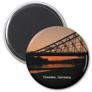 Dresden, Germany: Blue Wonder Bridge 6 Cm Round Magnet