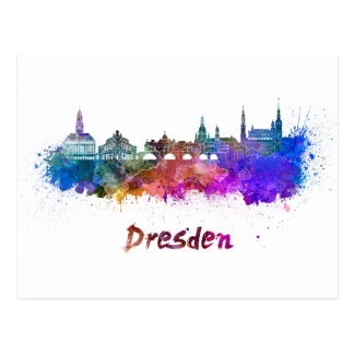 Dresden skyline in watercolor postcard