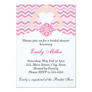 Dress Bridal Shower Invitation Chevron Pink Purple