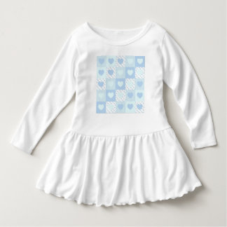 Dress flying patchwork of blue hearts