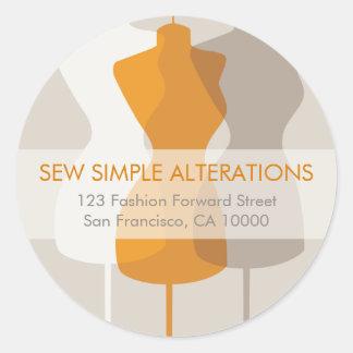 Dress Form Fashion Address Labels Round Sticker