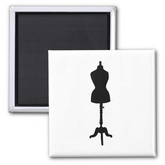 Dress Form Silhouette II Square Magnet