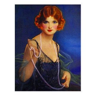 Dress Midnight Blue Flapper Girl & Pearls Postcard