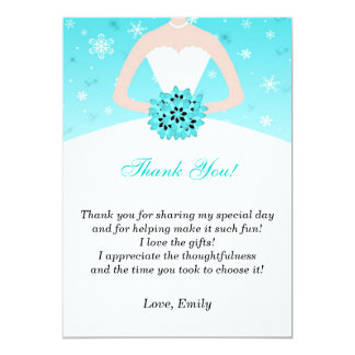 Dress Thank You Card Winter Snowflakes Turquoise 13 Cm X 18 Cm Invitation Card