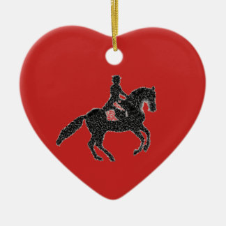 Dressage Heart Red - Horse and Rider Mosaic Design Ceramic Heart Decoration