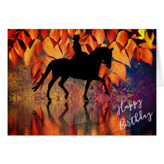 Dressage Horse and Rider Autumn Leaves Birthday Card