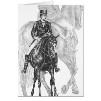 Dressage Horse Half Pass Drawing by Kelli Swan Card