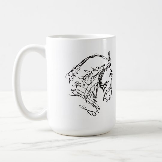Dressage Horse Head Mug White