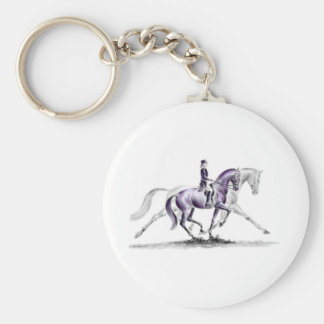 Dressage Horse in Trot Piaffe Basic Round Button Key Ring