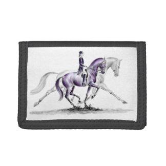 Dressage Horse in Trot Piaffe Tri-fold Wallets