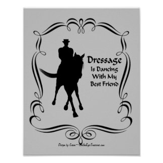 Dressage Horse Rider Silhouette Dancing Poster