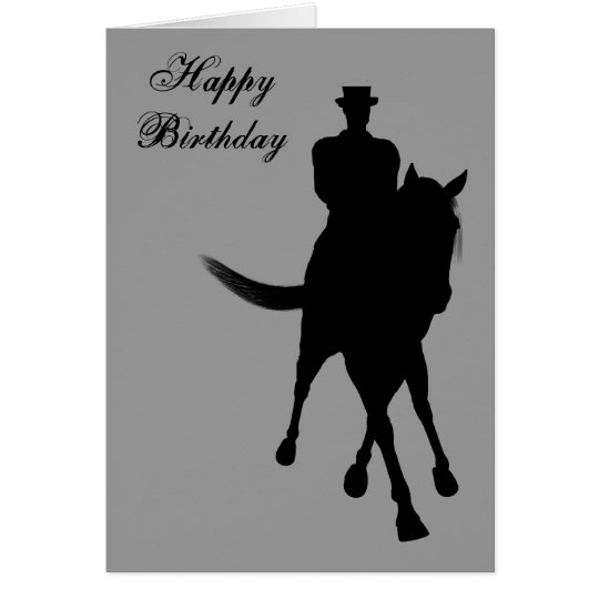 Dressage Horse Silhouette Birthday Greeting Card
