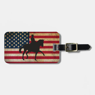 Dressage Horse with United States Flag Patriotic Luggage Tag
