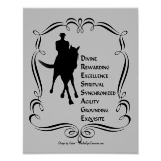 Dressage Is Horse And Rider Silhouette Print