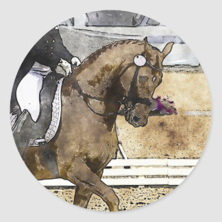 Dressage Rider Round Sticker