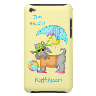 Dressed Beach or Pool Dog Yellow Name Personalized Barely There iPod Cover