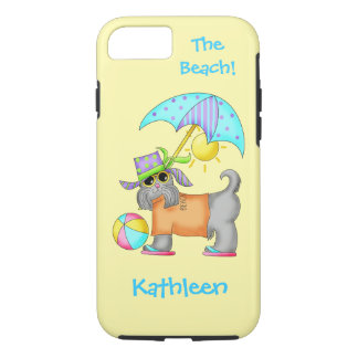 Dressed Beach or Pool Dog Yellow Name Personalized iPhone 7 Case