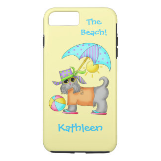 Dressed Beach or Pool Dog Yellow Name Personalized iPhone 7 Plus Case