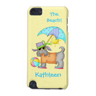 Dressed Beach or Pool Dog Yellow Name Personalized iPod Touch (5th Generation) Cases