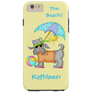 Dressed Beach or Pool Dog Yellow Name Personalized Tough iPhone 6 Plus Case