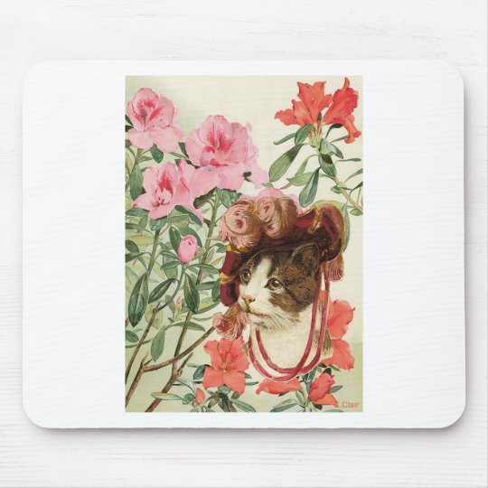 Dressed Floral Victorian Cat Pink Flowers Hat Mouse Mat