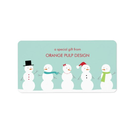 Dressed Snowman Holiday Gift Tag/Favour Stickers Address Label
