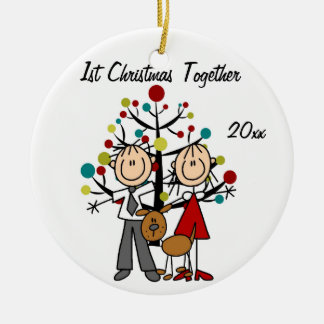 Dressed Up Couple With Dog Personalized Ornament