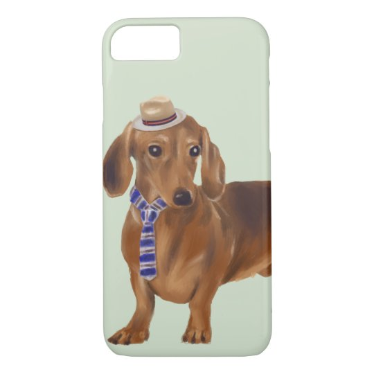 Dressed-up Dachshund (Background Colour Editable) iPhone 8/7 Case