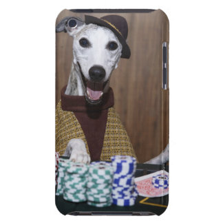 Dressed up Whippet dog at gambling table Barely There iPod Cases