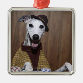 Dressed up Whippet dog at gambling table Christmas Ornament