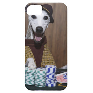 Dressed up Whippet dog at gambling table iPhone 5 Case