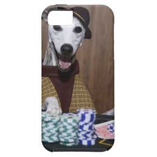 Dressed up Whippet dog at gambling table iPhone 5 Cover