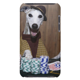 Dressed up Whippet dog at gambling table iPod Case-Mate Case
