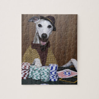 Dressed up Whippet dog at gambling table Jigsaw Puzzle