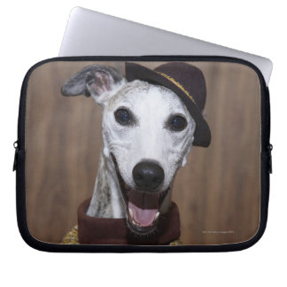 Dressed up Whippet dog at gambling table Laptop Sleeves
