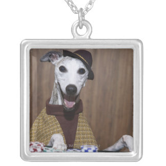 Dressed up Whippet dog at gambling table Silver Plated Necklace